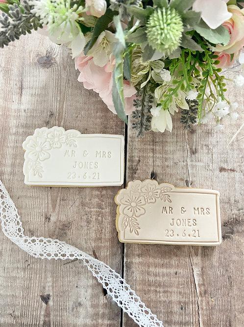 Floral Mr & Mrs Wedding Biscuits
