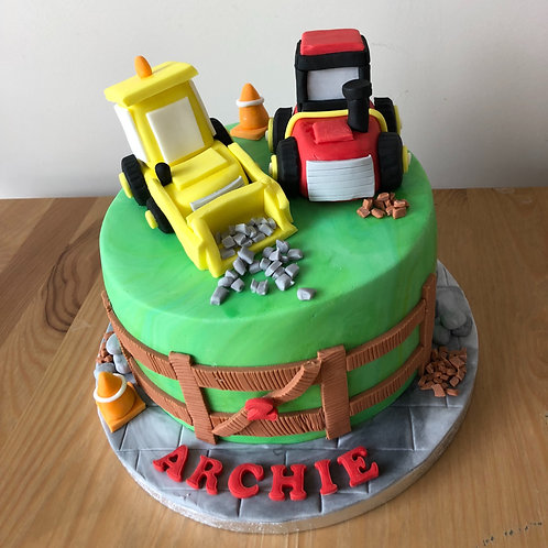 Digger & Tractor Cake Topper