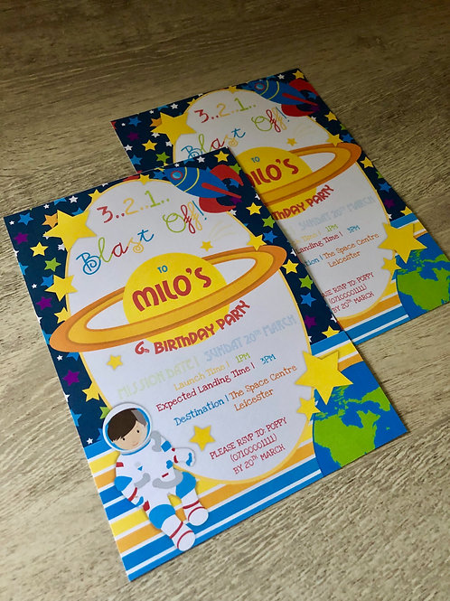 Outer Space Party Invitations