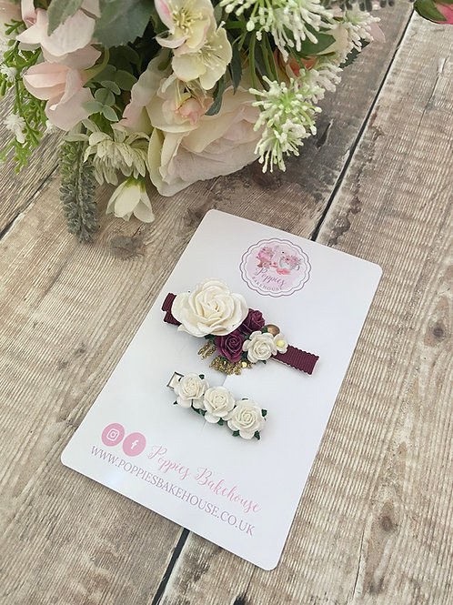 Burgundy & Ivory Floral Blooms Hair Clips