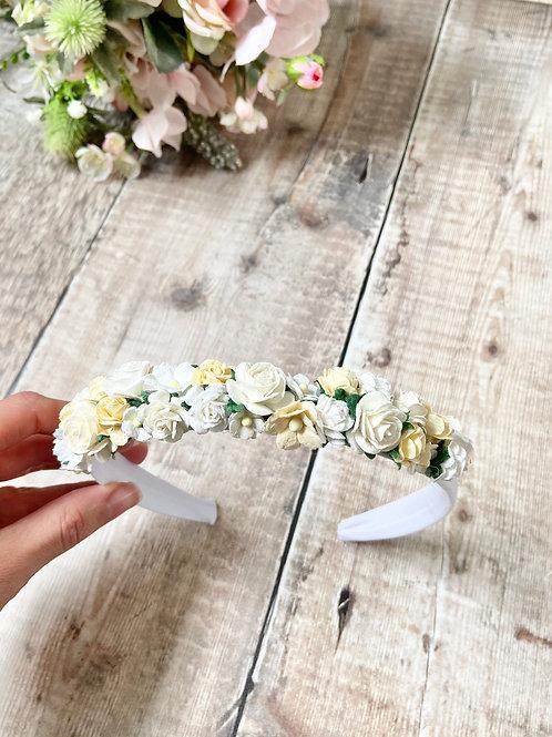 Cream & White Mulberry Flower Headband