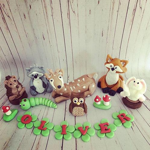 Woodland Animal Cake Topper Set