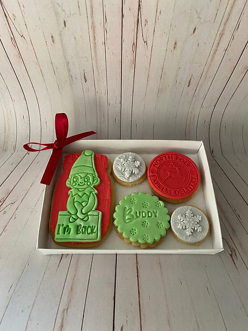 Cheeky Elf 'I'm Back' Biscuit Box