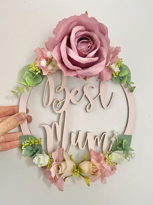Best Mum Floral Hoop