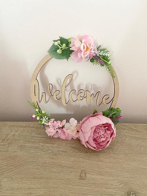 Welcome Floral Hoop