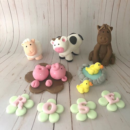 Farm Animal Cake Topper Set