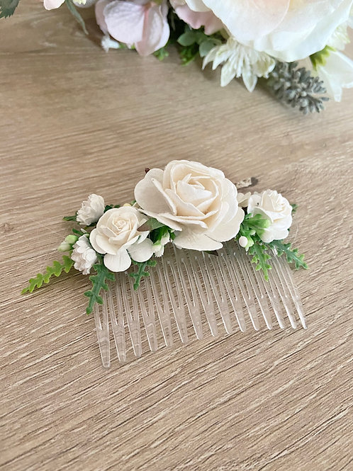 Ivory Mulberry Flower Hair Comb
