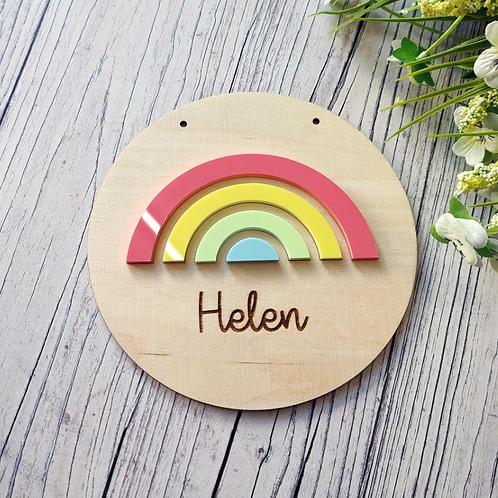 Pastel Rainbow Circular Plaque