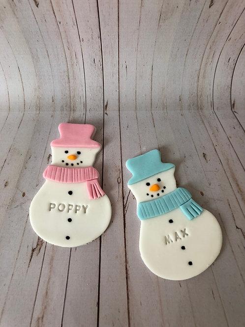 Snowman Personalised Cookie