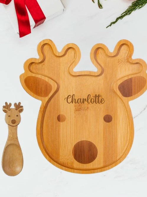 Rudolph Bamboo Plate & Spoon