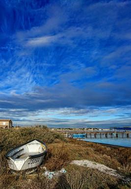 Ciel de Décembre sur le port de Bouzigues.