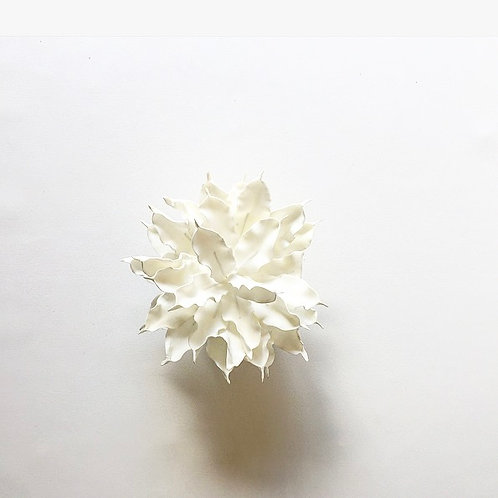 Medium White Flower with Stained Wooden Base