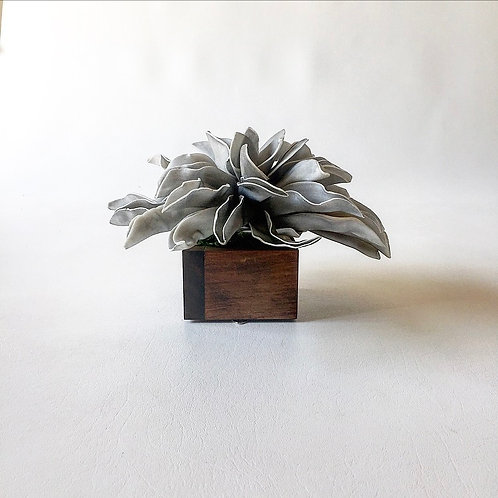 Medium Gray Flower with Stained Box