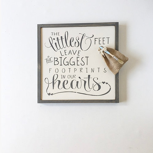 The Littlest Feet Wall Sign, White with Gray Font