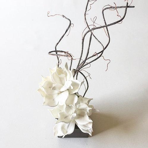 Vertical White Flower Box