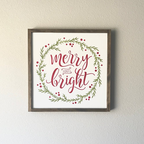 Merry & Bright Wall Sign