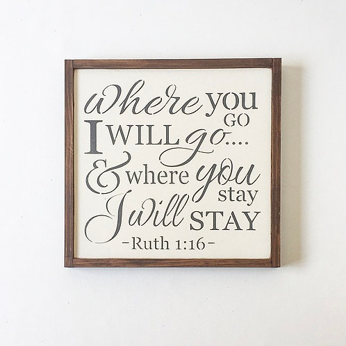 Where You Go Wall Sign, White with Gray Font
