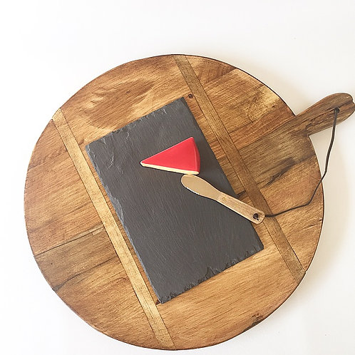 Round Serving Board with Cheese Slate & Knife