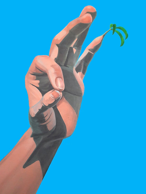 Digigraphie - A Hand, a Tree and a Bird