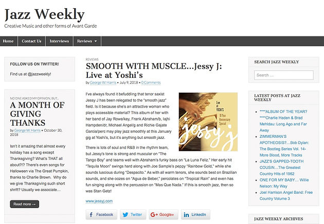 Jazz Weekly- review   Jessy J Sax   Official Website