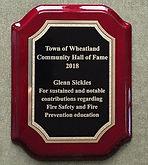 Glenn Sickles HoF Plaque
