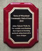 John Talcott Wells HoF Plaque