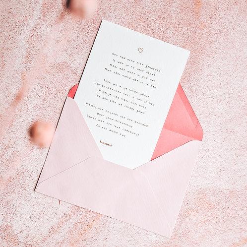 Kaartje a5 + roze envelop