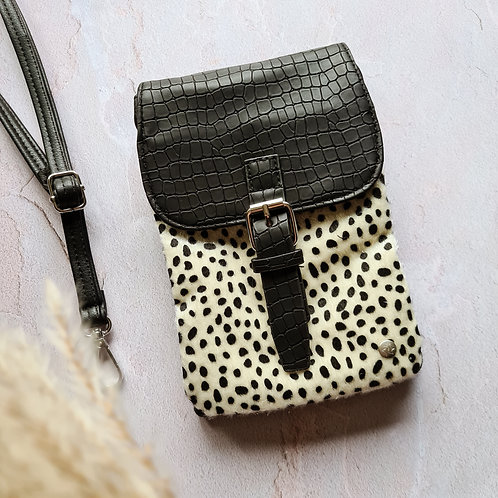 Telefoontasje - Zwart/beige