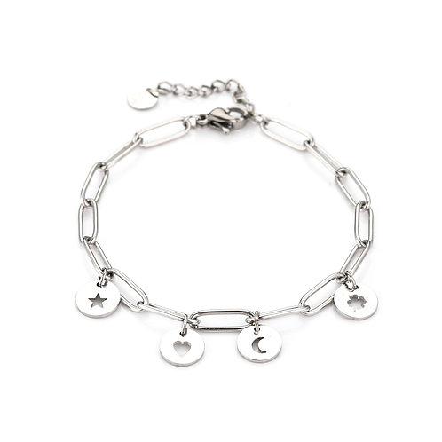 Armbandje Geluk - Schakel zilver