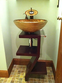 Modern Twist in the Powder Room of a Very Old Home
