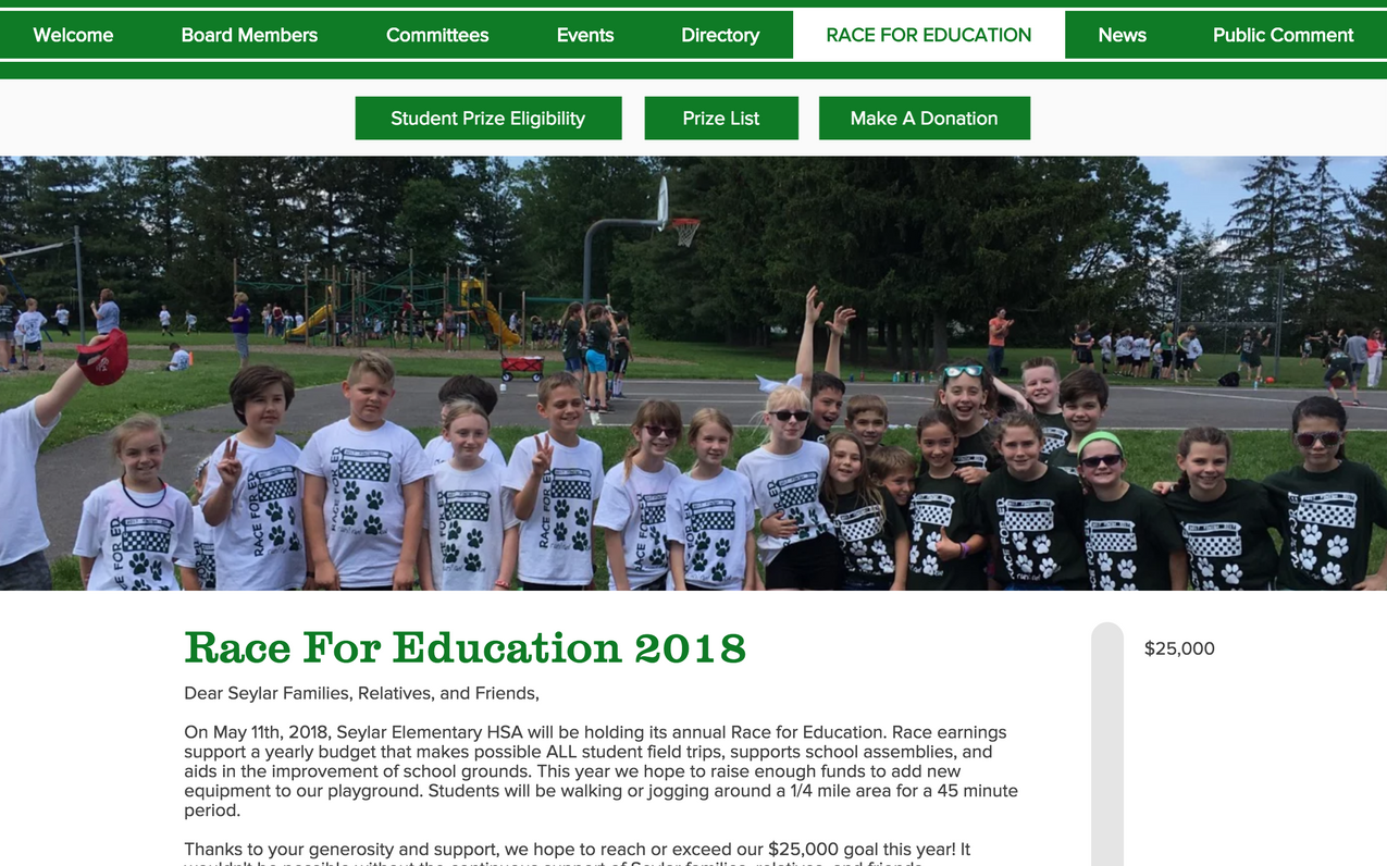 Just the homepage, the website serves as a hub to the annual fundraiser. A form is opened to participants to submit emails to be sent a donation request, shirt sizes, student information, and to submit a single donation. Friends and family wishing to donate to students can do so here.