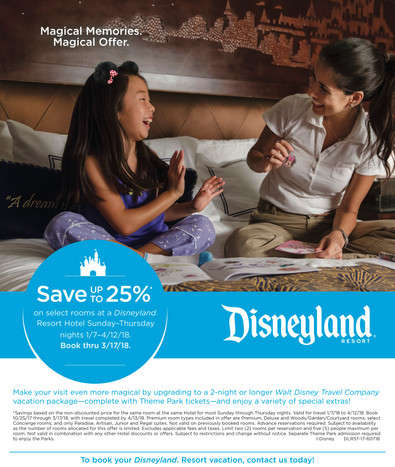 Disneyland Resort Hotel Room Offer