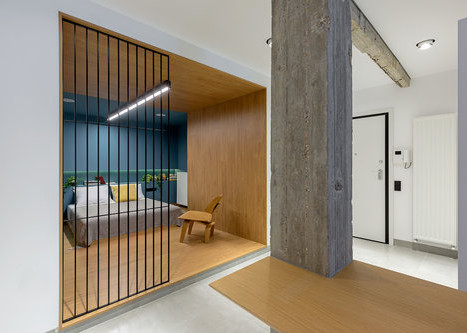 Contrast and light feature in 60s Kypseli apartment