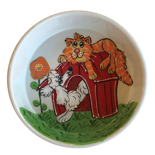 Poodle and Tabby Bowl