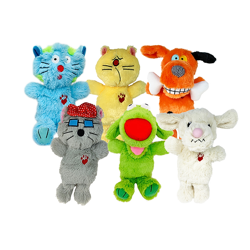 Multipet Assorted Bowzers and Meowzers™ Multicolor Squeaky Plush Toys, Large