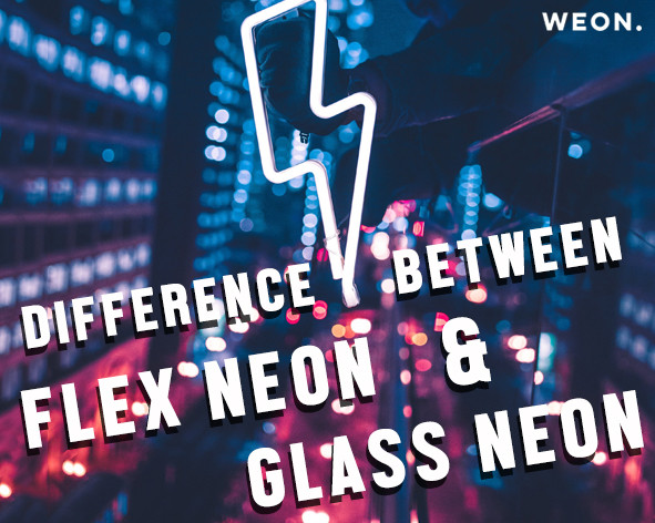 Flex neon sign(LED) is made out of flexible LED light and created on an acrylic backing. Traditional glass neon sign is made of glass and it is bent to create its shape. Normally, glass neon comes without backing. Therefore the difficulty of installation is higher than the flex neon. Also, comparing the price, durability, brightness and the safety level, flex neon is more advantageous than the transitional neon.