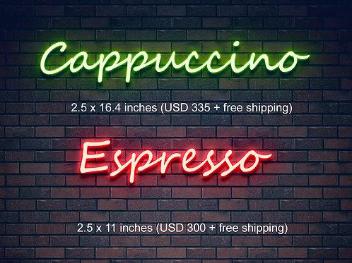 Custom Neon Sign (Cappuccino & Espresso)