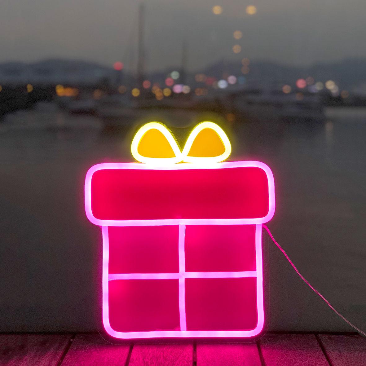 Gift Box Neon Sign