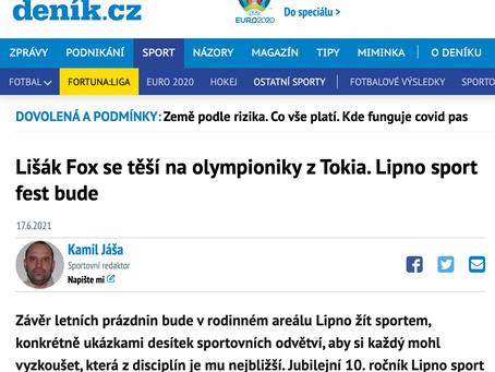 Lišák Fox se těší na olympioniky z Tokia. Lipno sport fest bude
