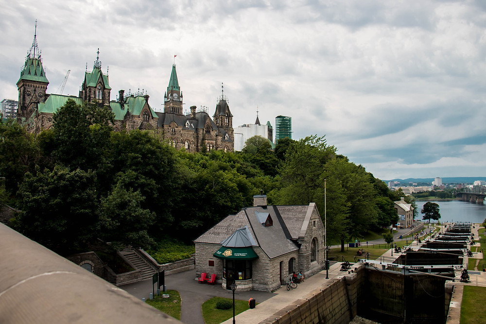 The East Block of Parliament Hill from the Rideau Canal