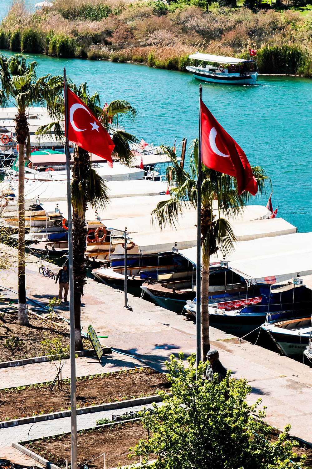 The Turkish Flags and the Ataturk Statue by the Dalyan River