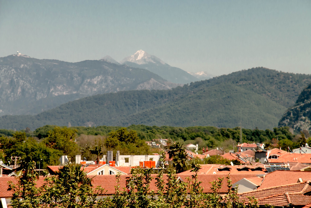 Snow capped moutains beyond Dalyan