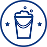 Blue bucket graphic in circle