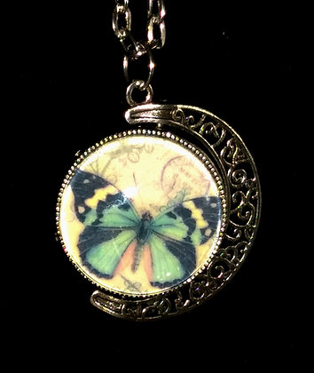 Rotating Butterfly & Quote Pendant