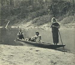 Fawcett with Guarayo (Ese'eja) in canoe