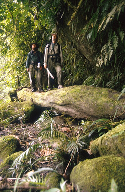 Bruce and Marshall crossing log Heath Headwaters