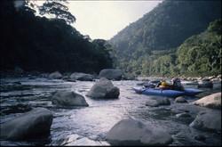 Cataraft on Tambopata, near crossing
