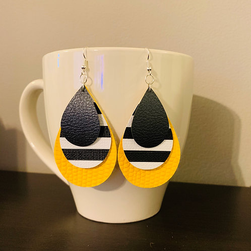 Yellow and Striped Layered Earrings