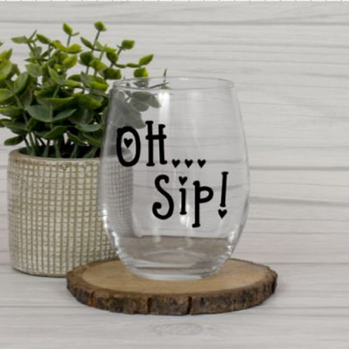Oh Sip Stemless Wine Glass