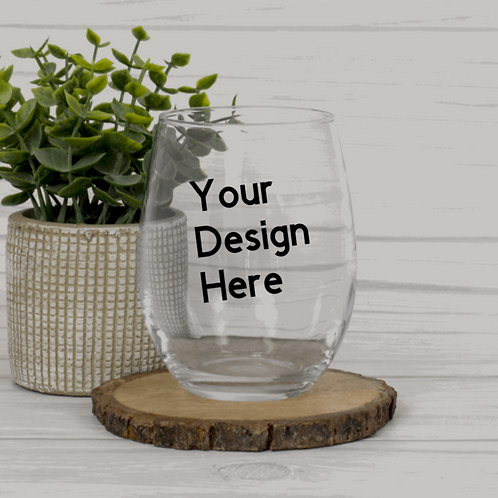 Design your own stemless wine glass